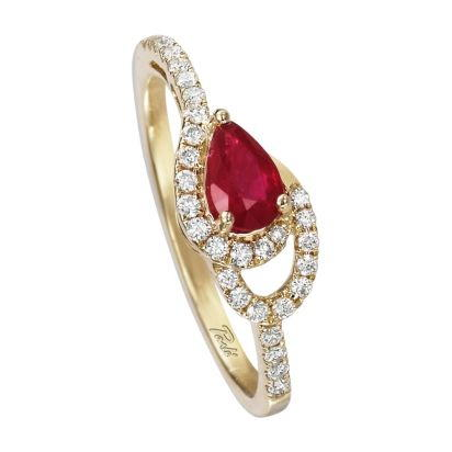 14K Yellow Gold Ruby/Diamond Ring | RCC049R23CI