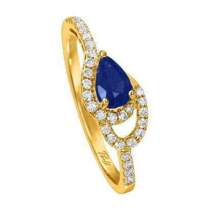 14K Yellow Gold Sapphire/Diamond Ring | RCC049S13CI