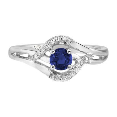 14K White Gold Blue Sapphire/Diamond Ring | RCC068S13WI