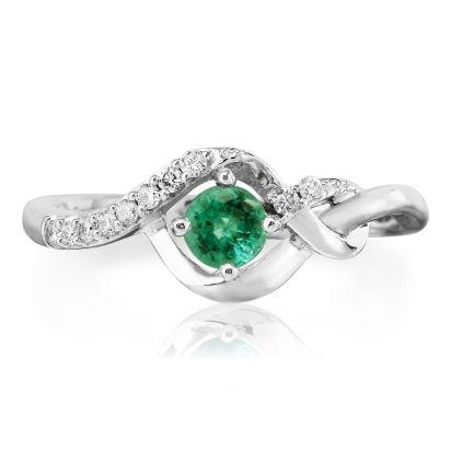 14K White Gold Emerald/Diamond Ring | RCC077E23WI