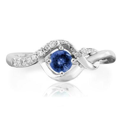 14K White Gold Blue Sapphire/Diamond Ring | RCC077S13WI