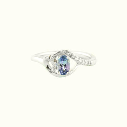 14K White Gold Peacock Tanzanite/Diamond Ring | RCC078FT3WI