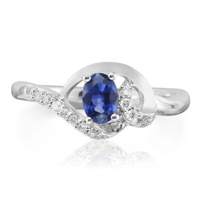 14K White Gold Blue Sapphire/Diamond Ring | RCC078S13WI