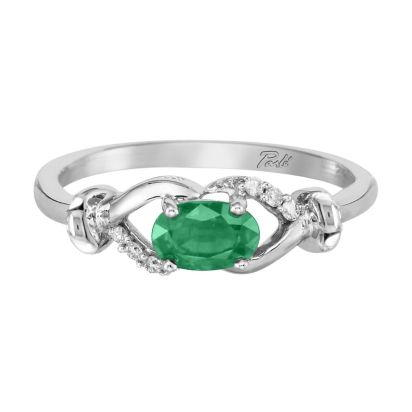 14K White Gold Emerald/Diamond Ring '0-D' | RCC081E23WI