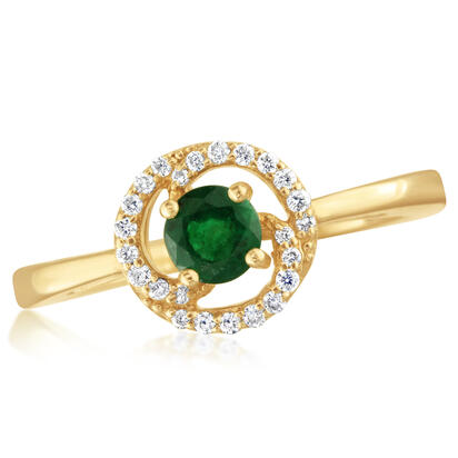 14K Yellow Gold Emerald Diamond Ring | RCC082E13CI