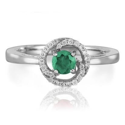 14K White Gold Emerald Diamond Ring -D' | RCC082E23WI