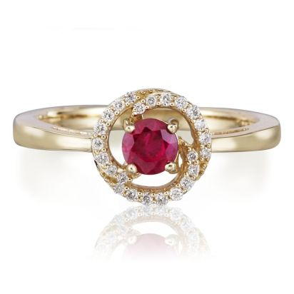 14K Yellow Gold Ruby Diamond Ring