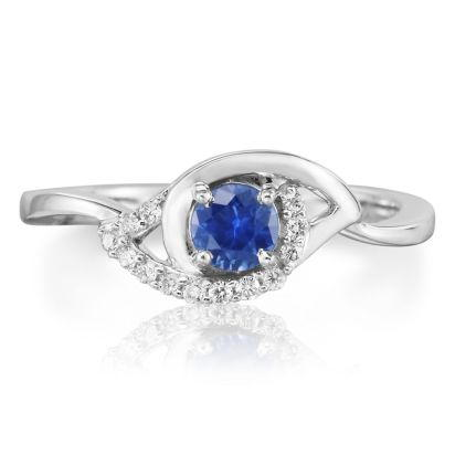 14K White Gold Blue Sapphire/Diamond Ring | RCC083S13WI