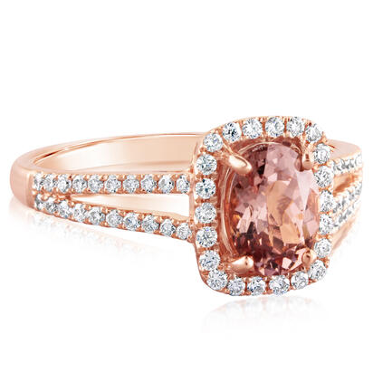 14K Rose Gold Lotus Garnet/Diamond Ring | RCC084LG1RI