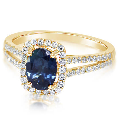 14K Yellow Gold Montana Sapphire/Diamond Ring | RCC084MS1CI