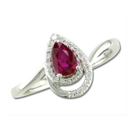 14K White Gold Mozambique Ruby/Diamond Ring | RCC099RZ2WI