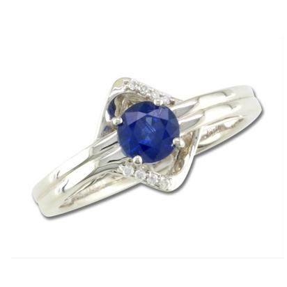 14K White Gold Blue Sapphire/Diamond Ring | RCC100S12WI