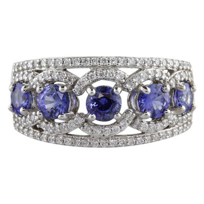 14K White Gold Blue Sapphire/Diamond Ring | RCC106S11WI