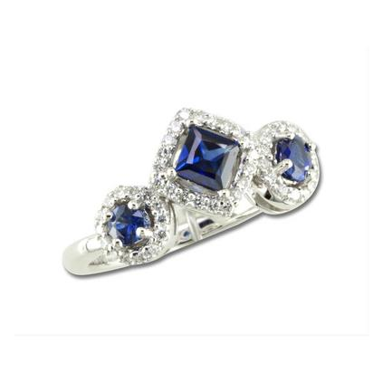 14K White Gold Blue Sapphire/Diamond Ring