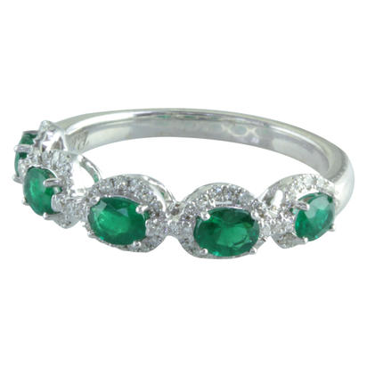 14K White Gold Emerald/Diamond Ring | RCC112E01WI