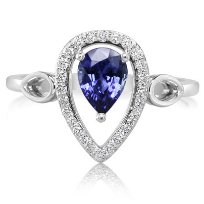 14K White Gold Blue Sapphire/Diamond Ring | RCC126S12WI