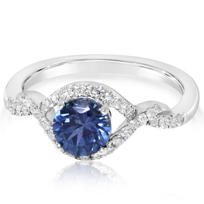 14K White Gold Montana Sapphire/Diamond Ring | RCC128MS2WI