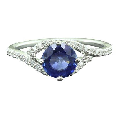 14K White Gold Blue Sapphire/Diamond Ring | RCC137S11WI