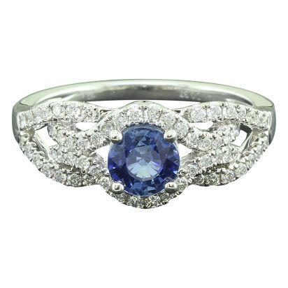 14K White Gold Blue Sapphire/Diamond Ring | RCC138S11WI