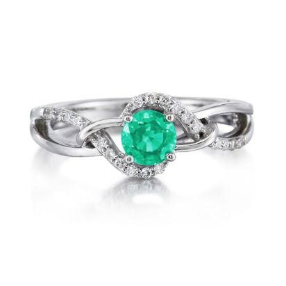 14K White Gold Emerald/Diamond Ring | RCC142E22W