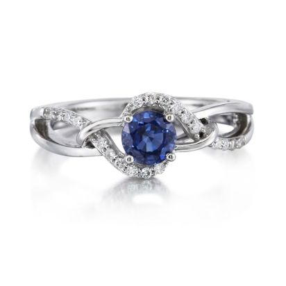 14K White Gold Blue Sapphire/Diamond Ring | RCC142S12W