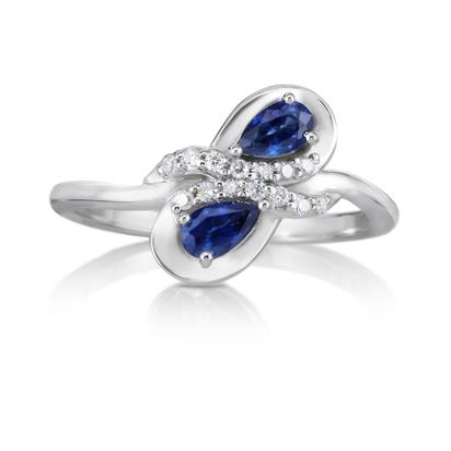 14K White Gold 5x3mm Pear Blue Sapphire/Diamond Ring | RCC147S12W