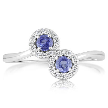 14K White Gold Yogo Sapphire/Diamond Ring (3mm Round) | RCC148Y22W