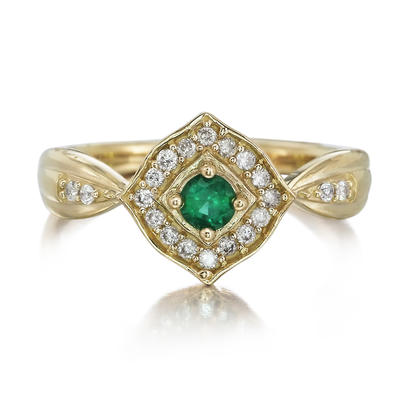 14K Yellow Gold Emerald/Diamond Ring | RCC150E12C