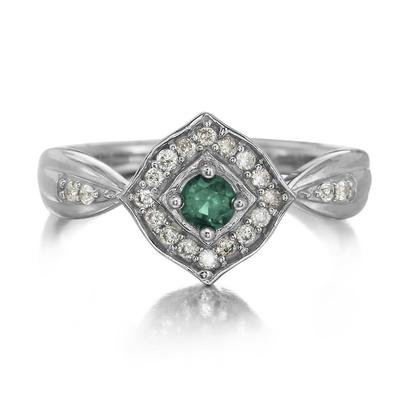 14K White Gold Emerald/Diamond Ring | RCC150E12W