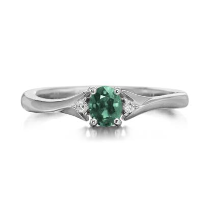 14K White Gold Emerald/Diamond Ring | RCC151E12W