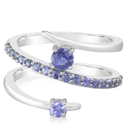14K White Gold Blue Sapphire/Graduated Blue Sapphire Ring
