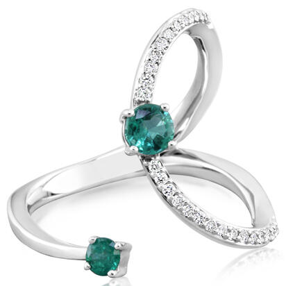 14K White Gold Emerald/Diamond Ring | RCC162E21WI