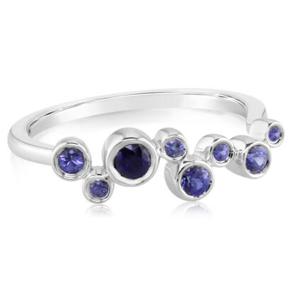14K White Gold Graduated Blue Sapphire Ring | RCC167GSXWI