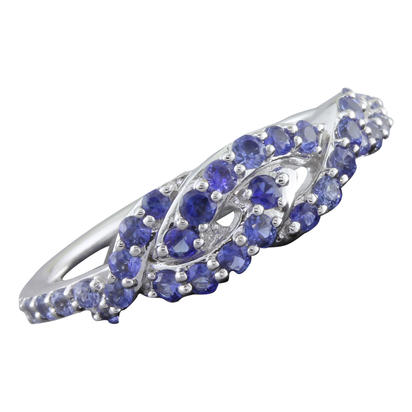 14K White Gold Graduated Blue Sapphire Ring | RCC169GSXWI