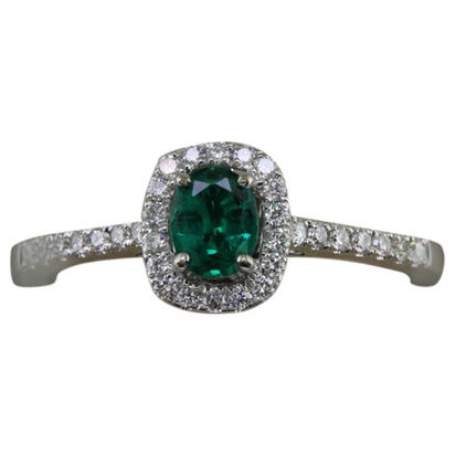 14K White Gold Emerald/Diamond Ring | RCC172E11WI