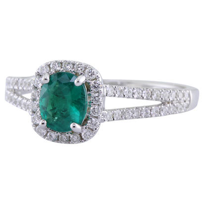 14K White Gold Emerald/Diamond Ring | RCC176E11WI