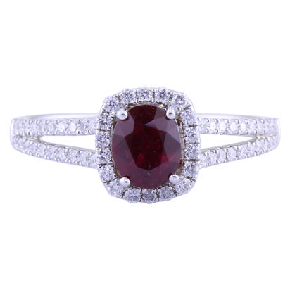 14K White Gold Ruby/Diamond Ring