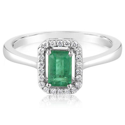 14K White Gold Emerald/Diamond Ring | RCC194E12WI