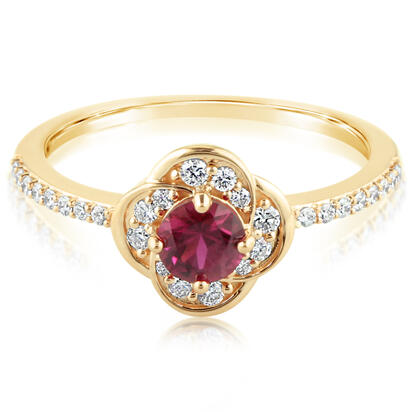 14K Yellow Gold Ruby/Diamond Ring | RCC195RM1CI