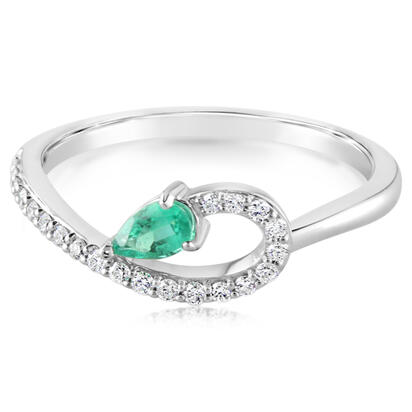 14K White Gold Emerald/Diamond Ring | RCC197E12WI