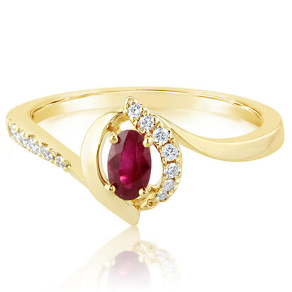 14K Yellow Gold Ruby/Diamond Ring | RCC198R22CI