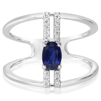 14K White Gold Blue Sapphire/Diamond Ring | RCC199S12WI
