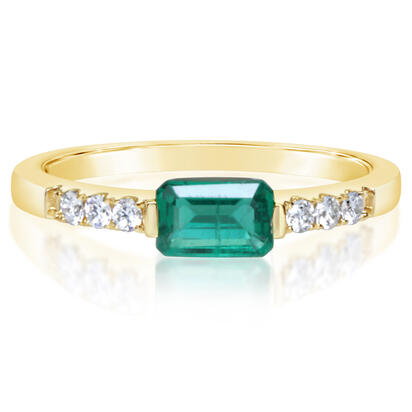 14K Yellow Gold Emerald/Diamond Ring | RCC200E12CI