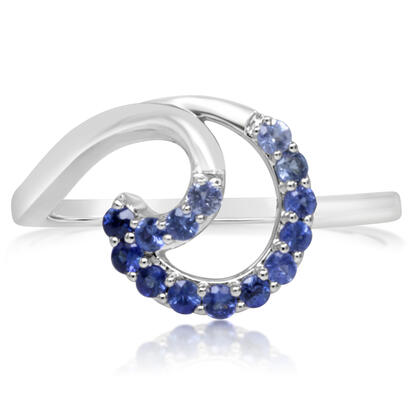 14K White Gold Graduated Blue Sapphire Ring | RCC203GSXWI