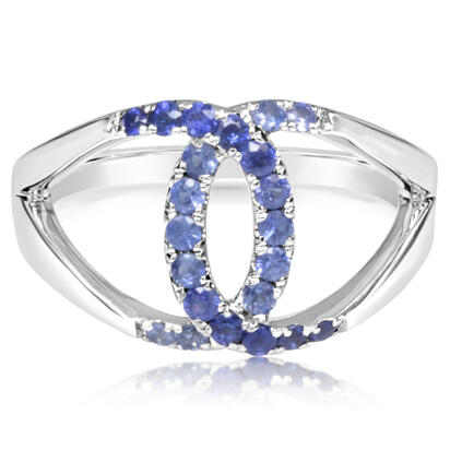 14K White Gold Graduated Blue Sapphire Ring | RCC204GSXWI