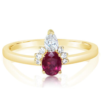 14K Yellow Gold Ruby/Diamond Ring