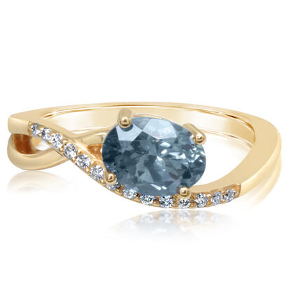 14K Yellow Gold Montana Blue Sapphire/Diamond Ring | RCC214MS2C
