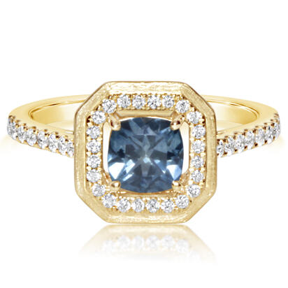 14K Yellow Gold Montana Sapphire/Diamond Ring