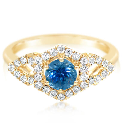 14K Yellow Gold Montana Sapphire/Diamond Ring | RCC218MS2CI
