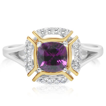 14K White and Yellow Gold Purple Garnet/Diamond Ring | RCC220GP2AI